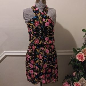 NWT Express Black & Pink Floral Halter Mini Dress